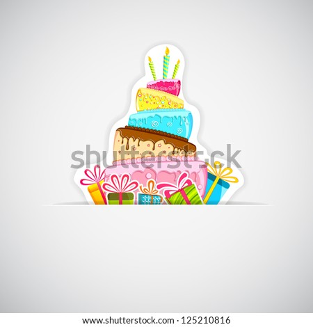illustration of sticker of cake with colorful gift boxes on white background - stock vector