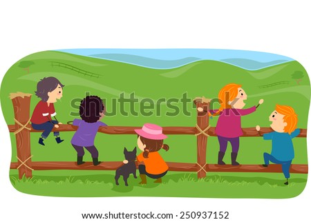 Illustration of Stickman Farm Kids Hanging Around a Fence - stock vector