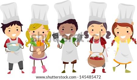 Illustration of Stickman Kids as Little Chefs - stock vector