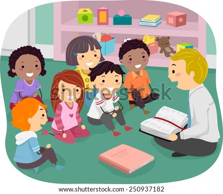 Illustration of Stickman Kids Attending Sunday School - stock vector