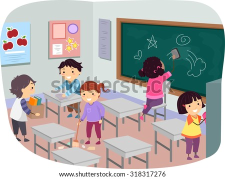 Illustration of Stickman Kids Cleaning Their Classroom Together - stock vector