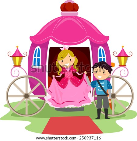 Illustration of Stickman Kids Dressed as a Prince and a Princess - stock vector