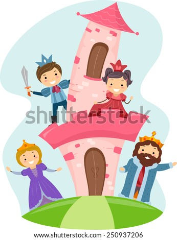 Illustration of Stickman Kids Dressed as Members of a Royal Family - stock vector
