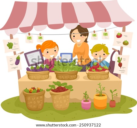 Illustration of Stickman Kids Manning a Fruit and a Vegetable Stand - stock vector