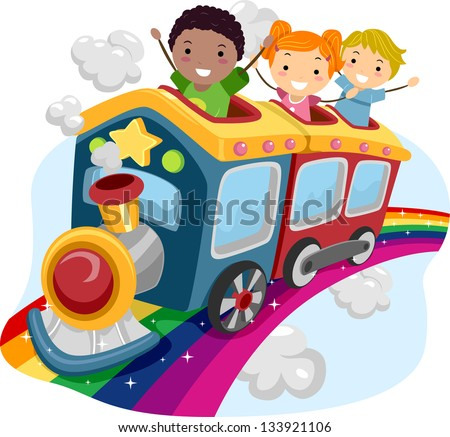Illustration of Stickman Kids on Top of a Rainbow Train - stock vector
