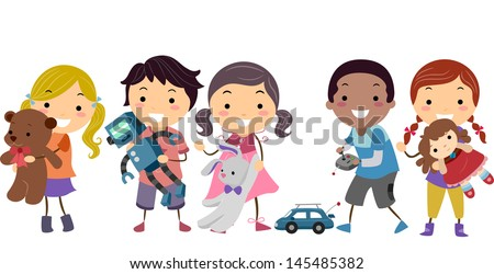 Illustration of Stickman Kids Playing with their Toys - stock vector