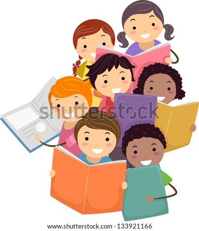 Illustration of Stickman Kids reading Books - stock vector