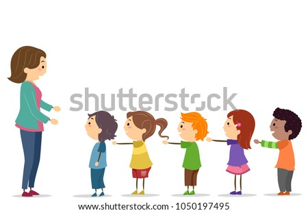 Illustration Stickman Kids Arms Standing Line Stock Vector ...
