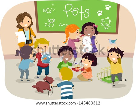 Illustration of Stickman Kids with their Pets in Classroom - stock vector