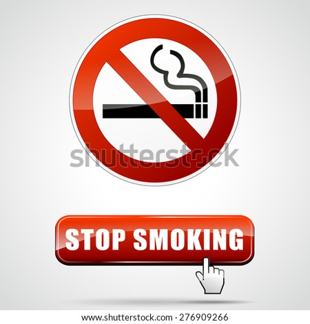 illustration of stop smoking sign with web button - stock vector