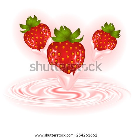 Illustration of strawberries and smooth cream swirl background  - stock vector
