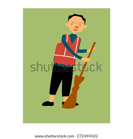 Illustration of street cleaner with broom  - stock vector