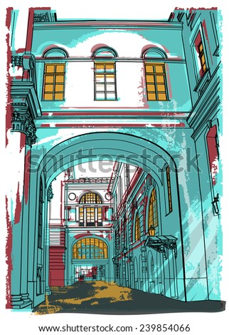 illustration of street in St. Petersburg. winter palace. vector illustration