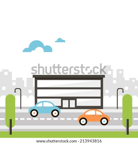 illustration of street with office building - stock vector