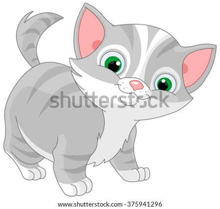 Illustration of striped kitten  - stock vector