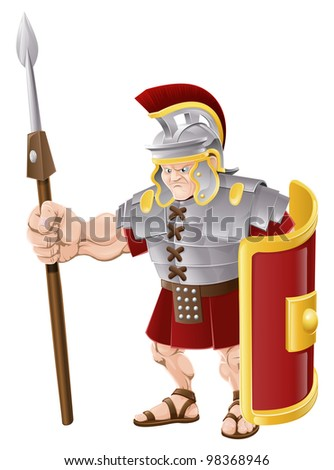 Illustration of strong looking Roman soldier with spear and shield - stock vector
