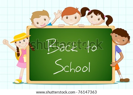 illustration of student standing with blackboard - stock vector