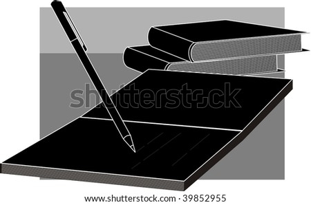 Illustration of study equipments of book, and pencil