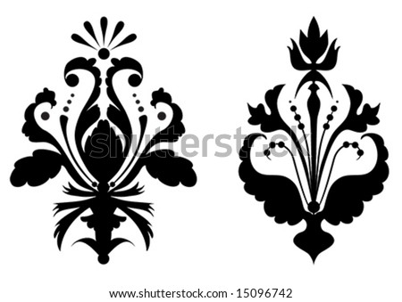 illustration of stylized flowers in black color