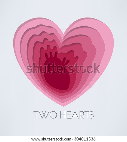 Illustration of stylized heart and anatomical heart in it - stock vector
