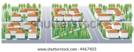 Illustration of suburb buildings design for real estate - stock vector