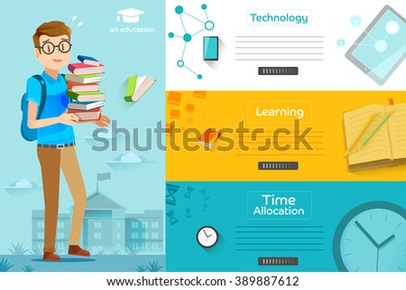 Illustration of success learning in a school. Concepts education for web banners. Students are preparing final exam. - stock vector
