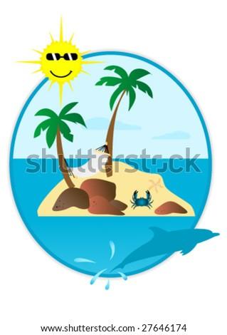 Illustration of summer landscape in round shape - stock vector