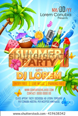 illustration of Summer Party poster design - stock vector
