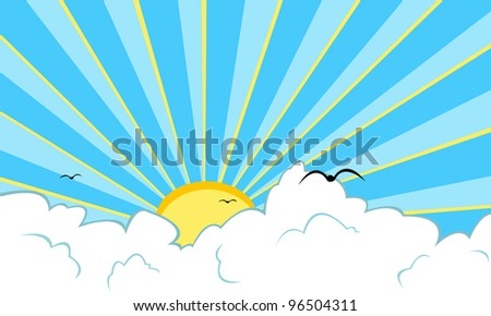 illustration of sun and clouds