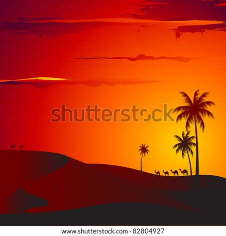 illustration of sunset view of desert with palm tree - stock vector