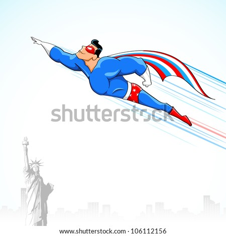 illustration of super hero in American flag costume flying above Statue of Liberty - stock vector