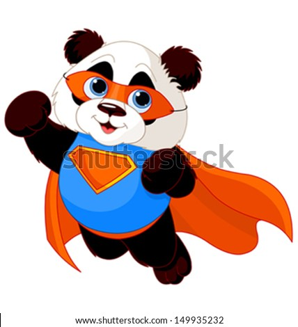Illustration of Super Hero Panda  - stock vector
