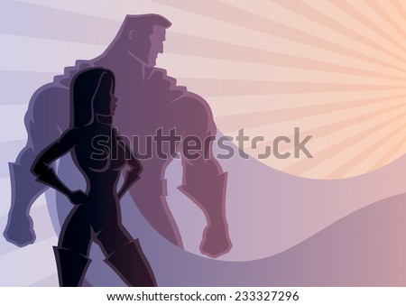 Illustration of superhero couple. No transparency used. Basic (linear) gradients used. A4 proportions. - stock vector