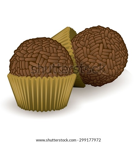 Illustration of sweet Brazilian Brigadier food. Ideal for informational culinary and institutional - stock vector