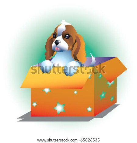 Illustration of sweet dog in box - stock vector
