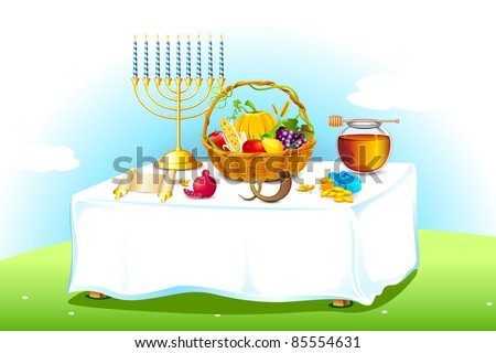 illustration of table decorated with honey and fruit for sukkot - stock vector