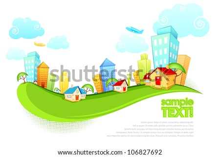 illustration of tall building and house on city scape - stock vector
