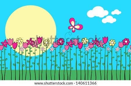 illustration of tall spring flowers and butterfly, in vector format very easy to edit, place this design side-by-side to create an endless pattern