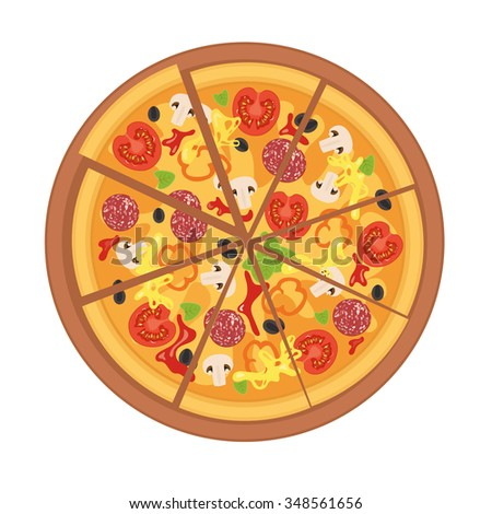 Illustration of tasty pizza. Italian pizza slice isolated on white background. Poster for Restaurant Menu for pizza with tomato, mushrooms, sausage, peppers, olives, cheese. Vector illustration. - stock vector