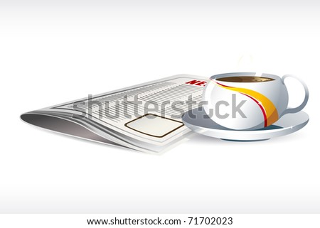 illustration of tea cup with news paper on abstract background - stock vector