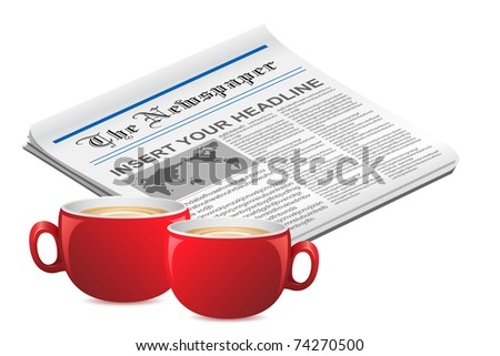 illustration of tea cups with news paper on white background - stock vector