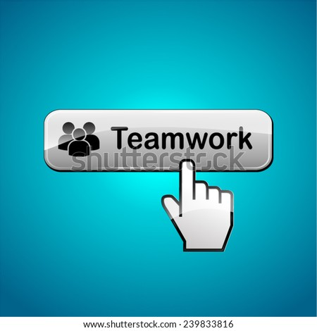 illustration of teamwork button concept on blue background