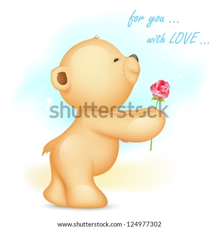 illustration of teddy bear holding rose in proposing pose - stock vector