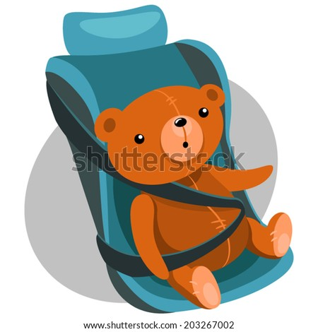 Illustration of Teddy bears in a child car seat - stock vector