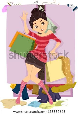 Illustration of Teenage Girl closing the door of an Overflowing Closet - stock vector