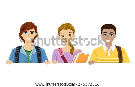 Illustration of Teenage Students Holding a Blank Board - stock vector
