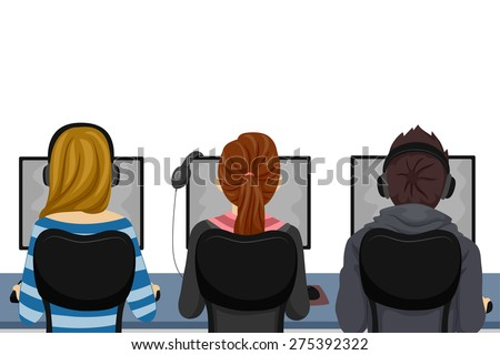 Illustration of Teenage Students Using Computers at the Computer Laboratory - stock vector