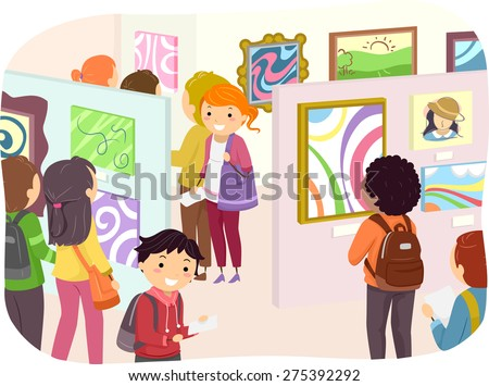 Illustration of Teenagers Checking Out Paintings in an Art Exhibit - stock vector