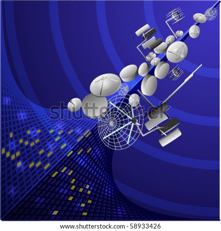 Illustration of telecommunication devices with satellite dishes and antenna - stock vector