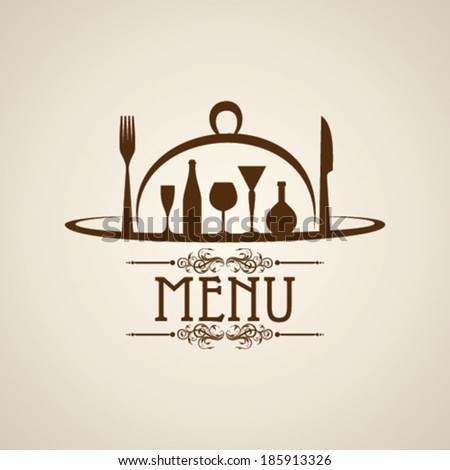 Illustration of template for menu card with cutlery  - stock vector